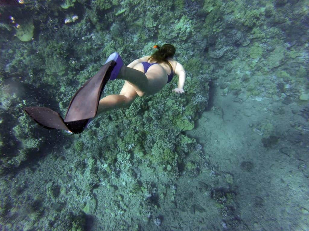 A girl snorkeling in the crystal clear waters of Cozumel - stingray villa