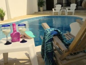 Serenity by pool at Stingray Villa Cozumel