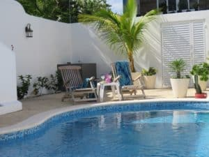 Tranquility by pool at Stingray Villa Cozumel Mexico