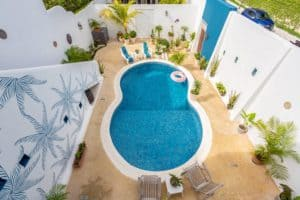 view of the pool from above at Stingray Villa Cozumel